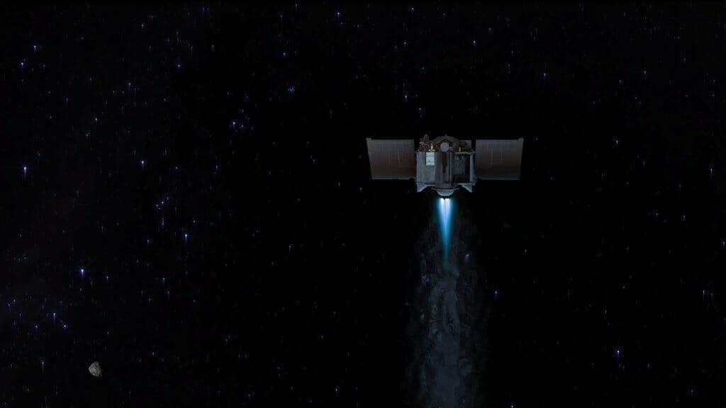 小惑星ベンヌを離れる小惑星探査機「オシリス・レックス」を描いた想像図(Credit: NASA/Goddard/University of Arizona)