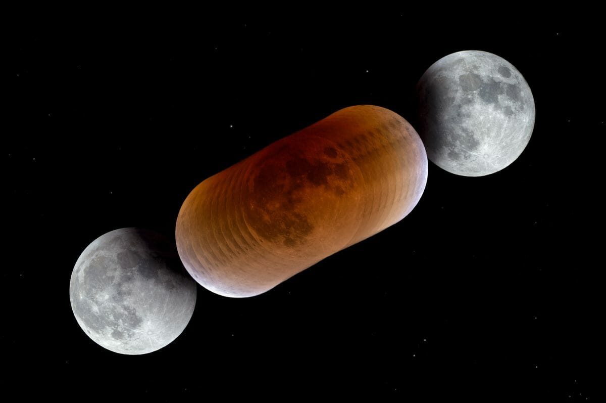 2018年1月に撮影された皆既月食の画像を1枚に合成したもの(Credit: P. Horálek/ESO)