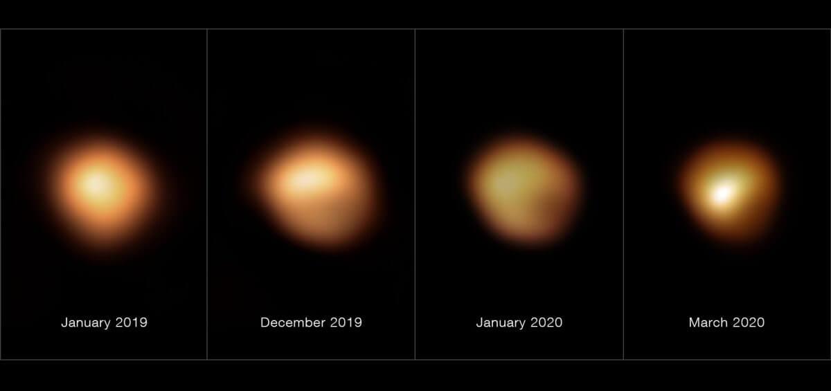 超大型望遠鏡(VLT)の観測装置「SPHERE」を使って撮影されたベテルギウス。左から2019年1月、2019年12月、2020年1月、2020年3月に撮影(Credit: ESO/M. Montargès et al.)