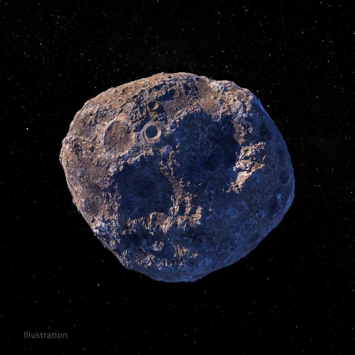 小惑星プシケを描いた想像図(金属と岩が細かく入り混じっていると想定)(Credit: NASA/JPL-Caltech/ASU/Peter Rubin)