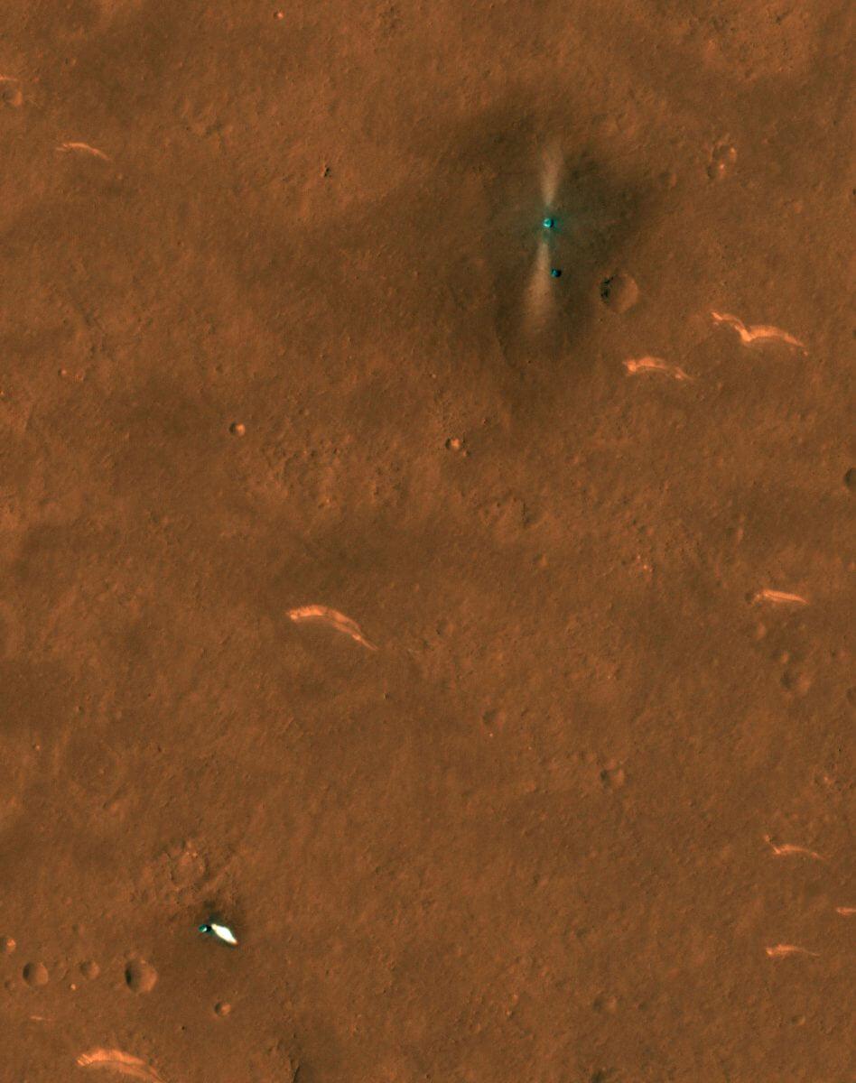 NASAの火星探査機「マーズ・リコネッサンス・オービター」が6月6日に撮影した祝融の着陸地点付近の様子(Credit: NASA/JPL/UArizona)