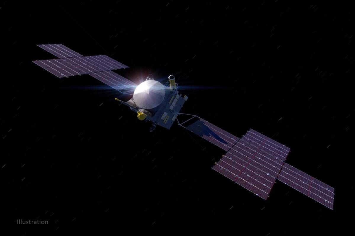 小惑星探査機「Psyche(サイキ)」を描いた想像図(Credit: NASA/JPL-Caltech/ASU/Peter Rubin)