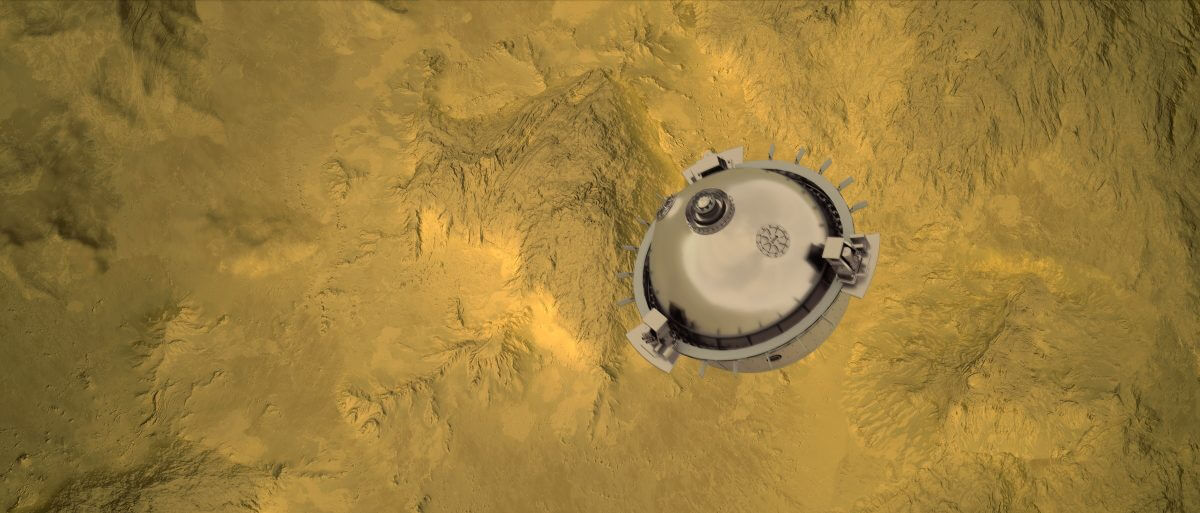 降下の最終段階にある「DAVINCI+」のプローブを描いた想像図(Credit: NASA GSFC visualization by CI Labs Michael Lentz and others)