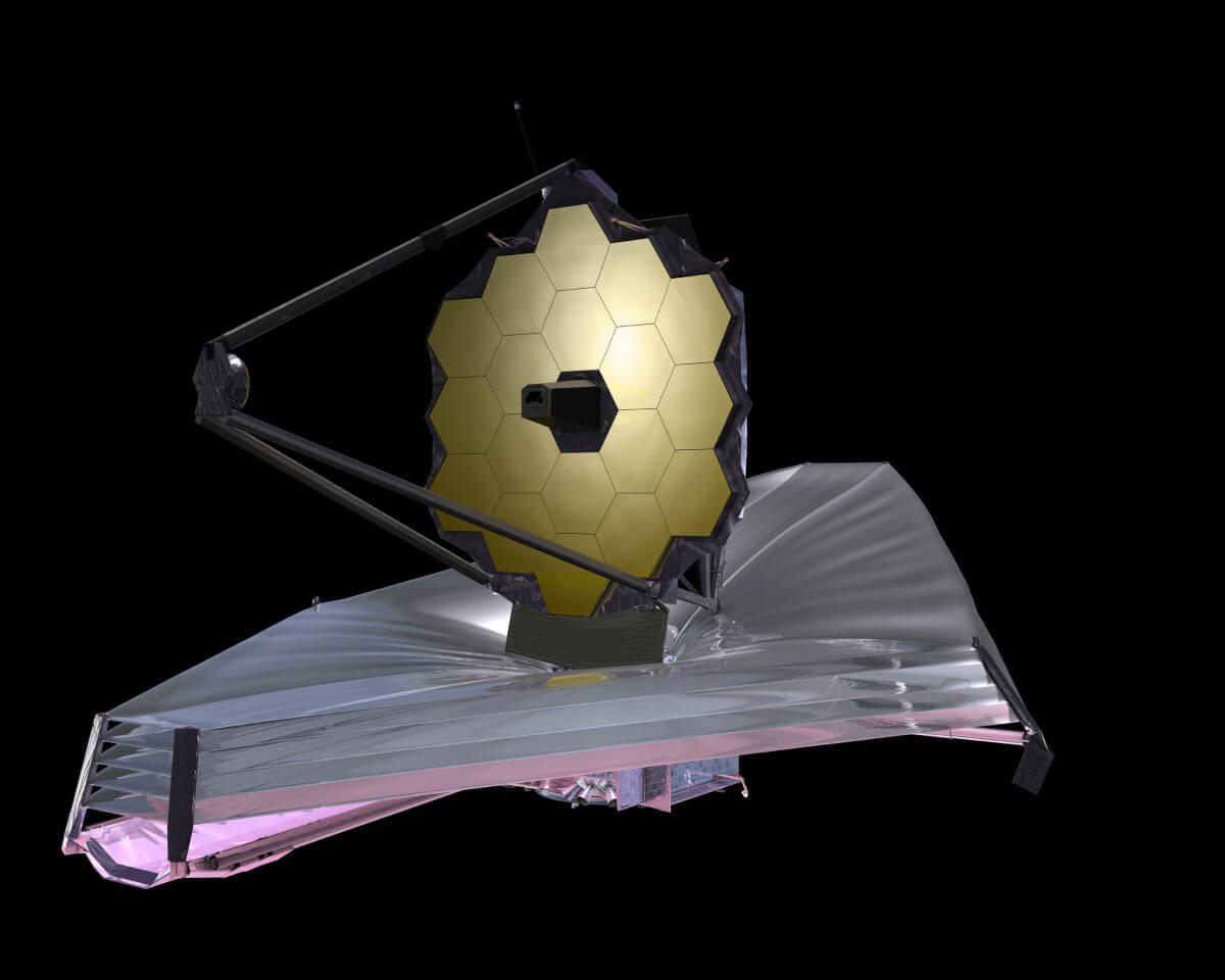 ジェイムズ・ウェッブ宇宙望遠鏡のイラスト。直径6.5mの主鏡を誇る(Credit: NASA/Chris Gunn)