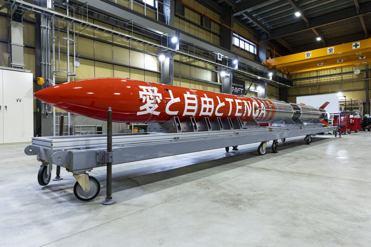 6月30日に北海道・大樹町のIST社で公開された「TENGAロケット」(Credit: インターステラテクノロジズ)
