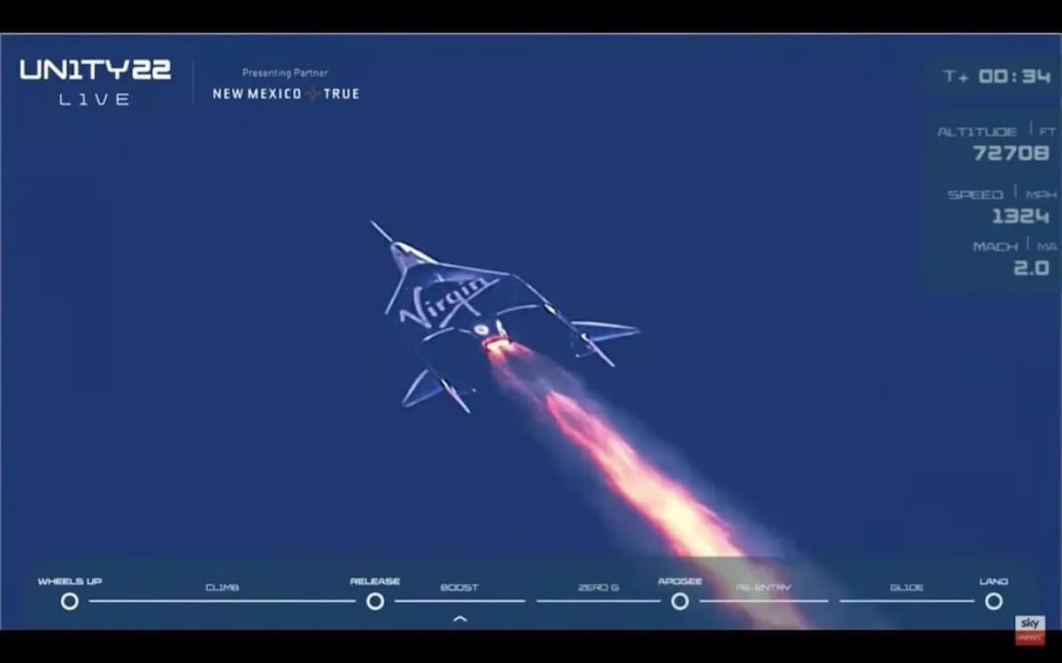 ヴァージン・ギャラクティックの飛行試験「Unity 22」の様子(Credit: Virgin Galactic)