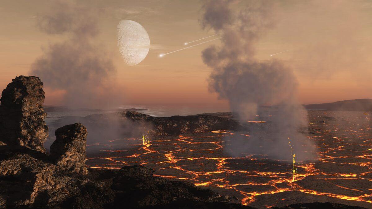 冥王代(約45~40億年前)の地表を描いた想像図(Credit: SwRI/Simone Marchi, Dan Durda)