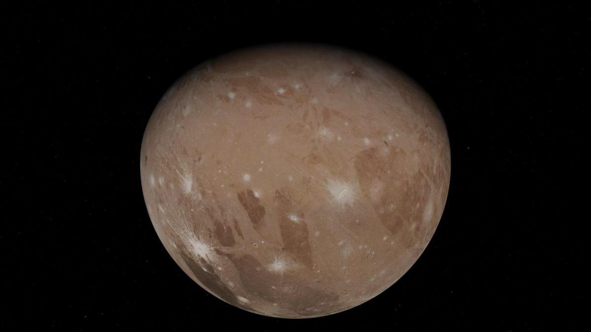 NASAの木星探査機「ジュノー」がフライバイ探査を行った木星の衛星ガニメデ(Credit: NASA/JPL-Caltech/SwRI/MSSS)