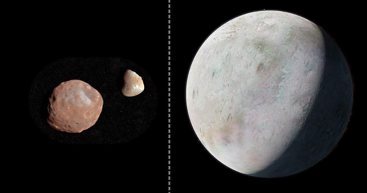 左から火星の衛星「フォボス」「ダイモス」、海王星の衛星「トリトン」(Credit: Shutterstock)