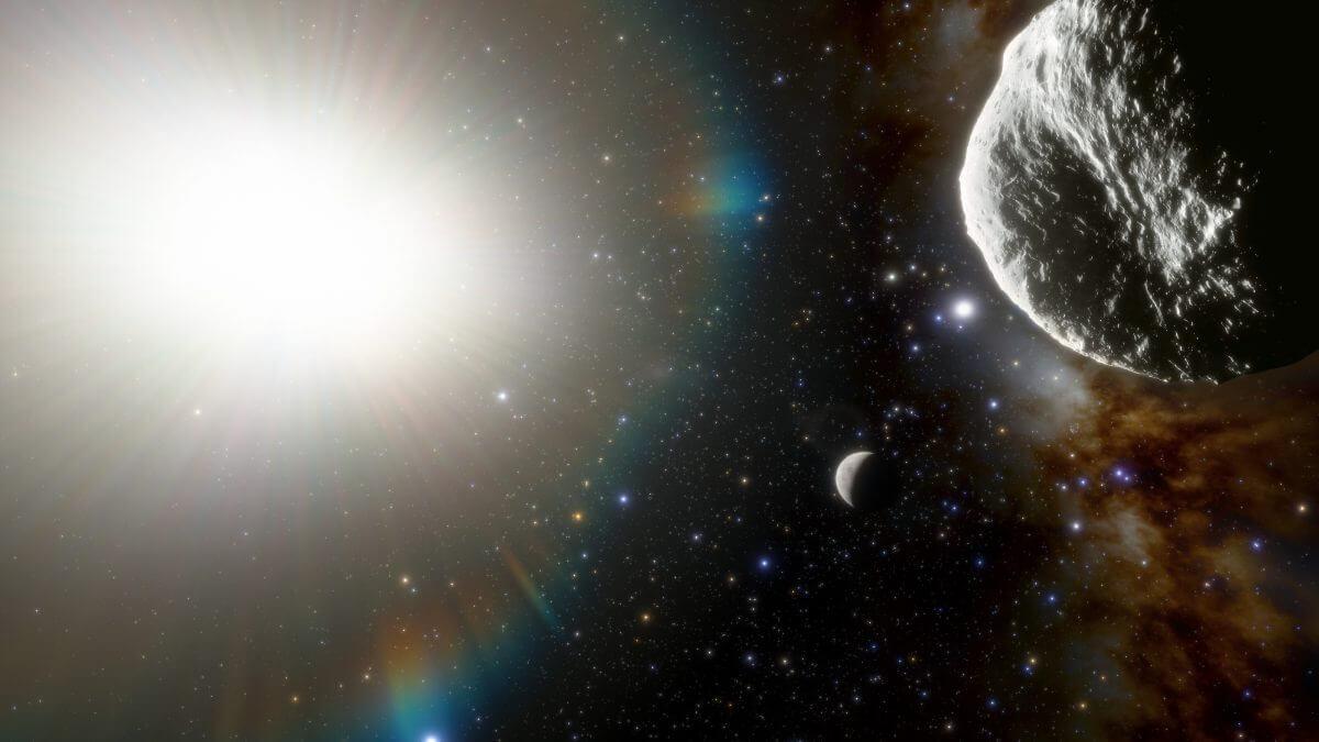小惑星「2021 PH27」(右上)を描いた想像図。小惑星の左下にあるのは水星(Credit: CTIO/NOIRLab/NSF/AURA/J. da Silva (Spaceengine))