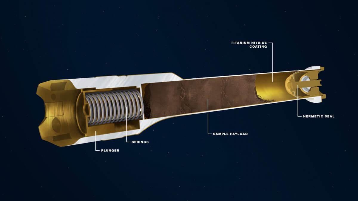 Perseveranceに搭載されているサンプルチューブの断面図。チューブの内部にはサンプルが描かれており、またチューブの端は密封されている(Credit: NASA/JPL-Caltech)