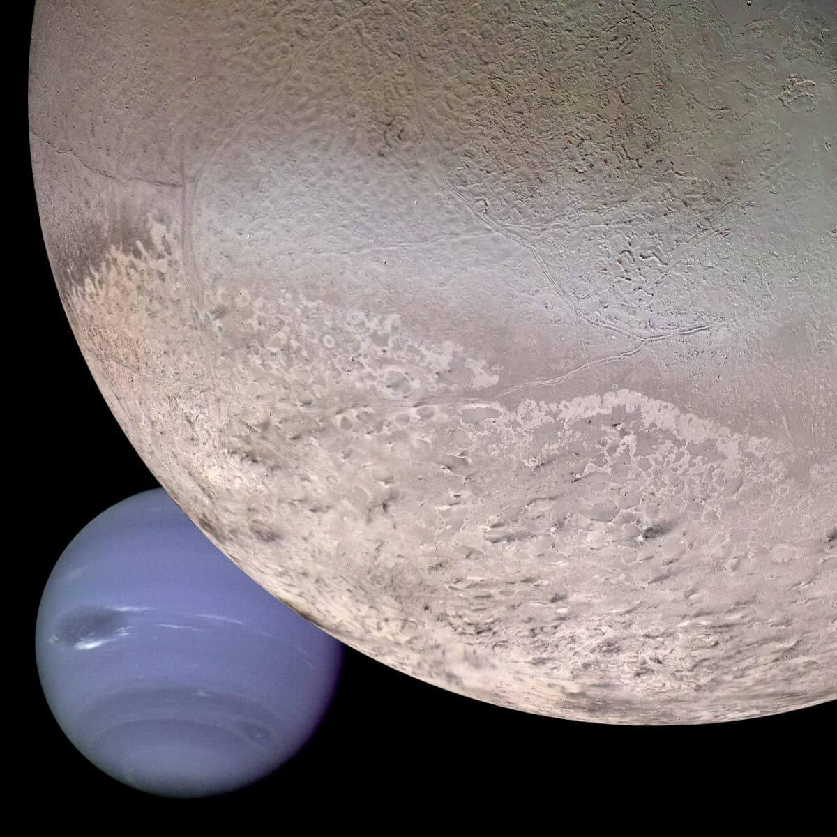 ボイジャー2号が撮影した海王星(左下)と衛星トリトン(右上)の合成画像(Credit: NASA)