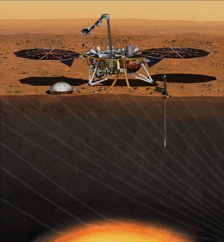 NASAの火星探査機インサイト(InSight)のイラスト。火星の内部構造などを調べている(Credit: NASA/JPL-Caltech)