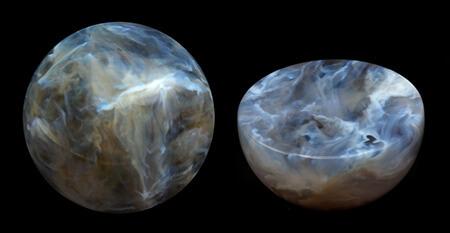 分子雲のシミュレーションデータを3Dプリントした球体は断面を観察することもできる(Credit: Saurabh Mhatre)