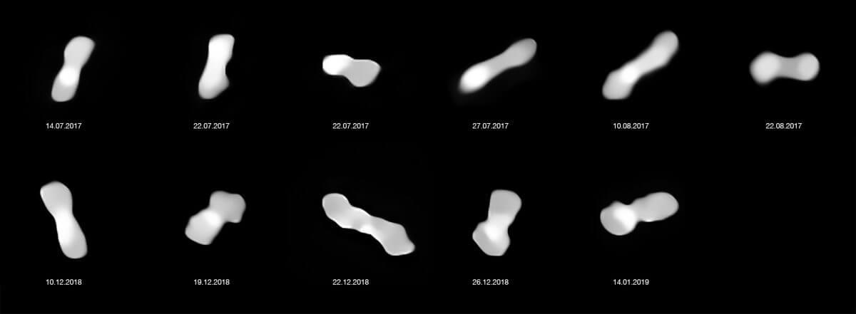 2017年から2019年にかけて撮影された小惑星クレオパトラ(日付は日/月/年の順)。観測にはヨーロッパ南天天文台の超大型望遠鏡が使用された(Credit: ESO/Vernazza, Marchis et al./MISTRAL algorithm (ONERA/CNRS))