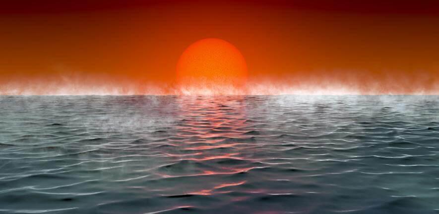 今回、新しく提唱された系外惑星の分類「ハイセアン(hycean)惑星」の想像図。水素を豊富に含む大気の下に惑星規模の海を持ち、生命が存在する可能性があるとされる(Credit: Amanda Smith)