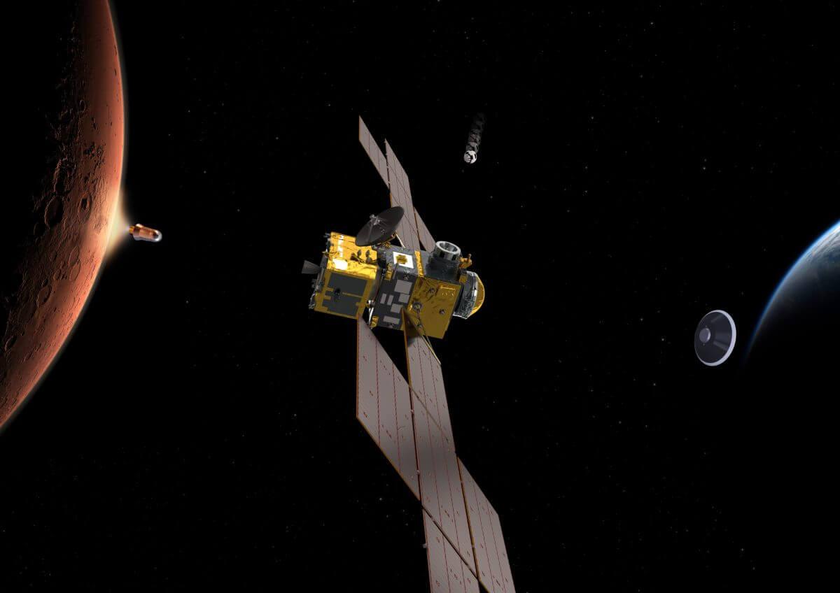 火星サンプルリターンのコンセプト。サンプル保管容器はMAV先端に搭載された球形のコンテナに移し替えられた状態で火星の地表から打ち上げられ(左)、軌道上で帰還用の探査機がキャッチ(中央)。コンテナは回収カプセルに収容され、探査機によって地球まで運ばれる(右)(Credit: ESA/ATG Medialab)