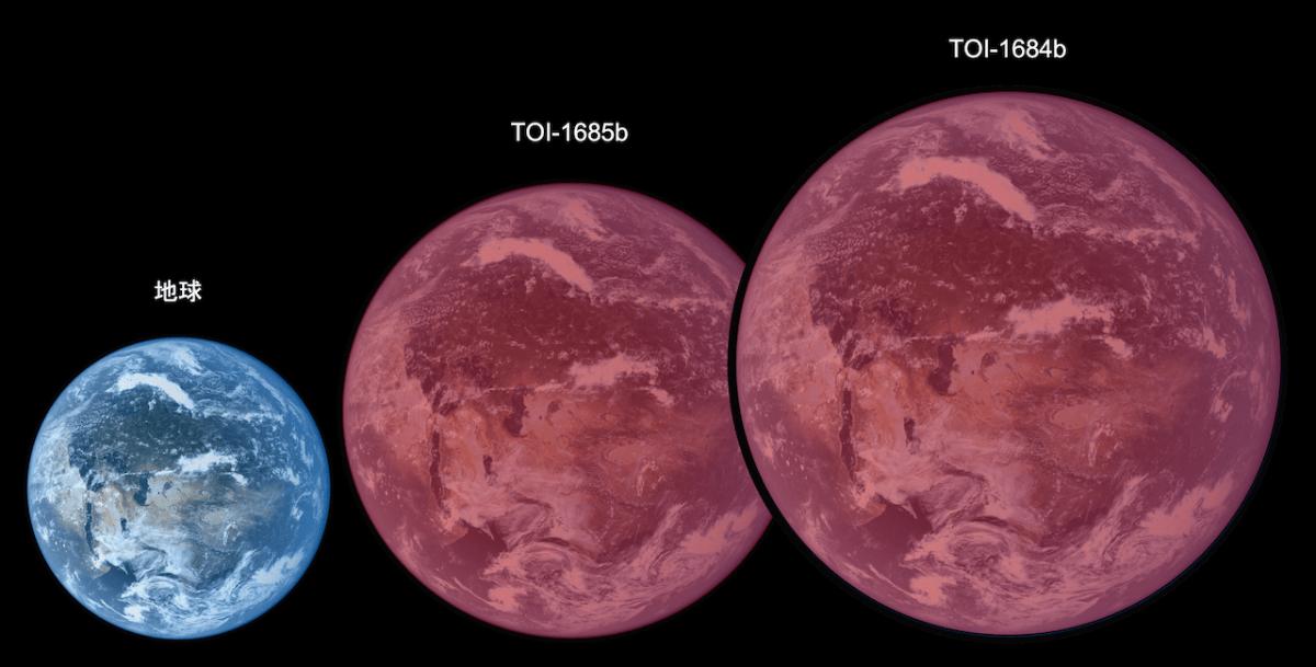 地球(左)、TOI-1685 b(中央)、TOI-1634 b(右、図では「TOI-1684 b」と表記)のサイズ比較イメージ。低温の赤色矮星を公転しているTOI-1685 bとTOI-1634 bは赤っぽい光に照らされている様子が表現されている(Credit: 自然科学研究機構アストロバイオロジーセンター)