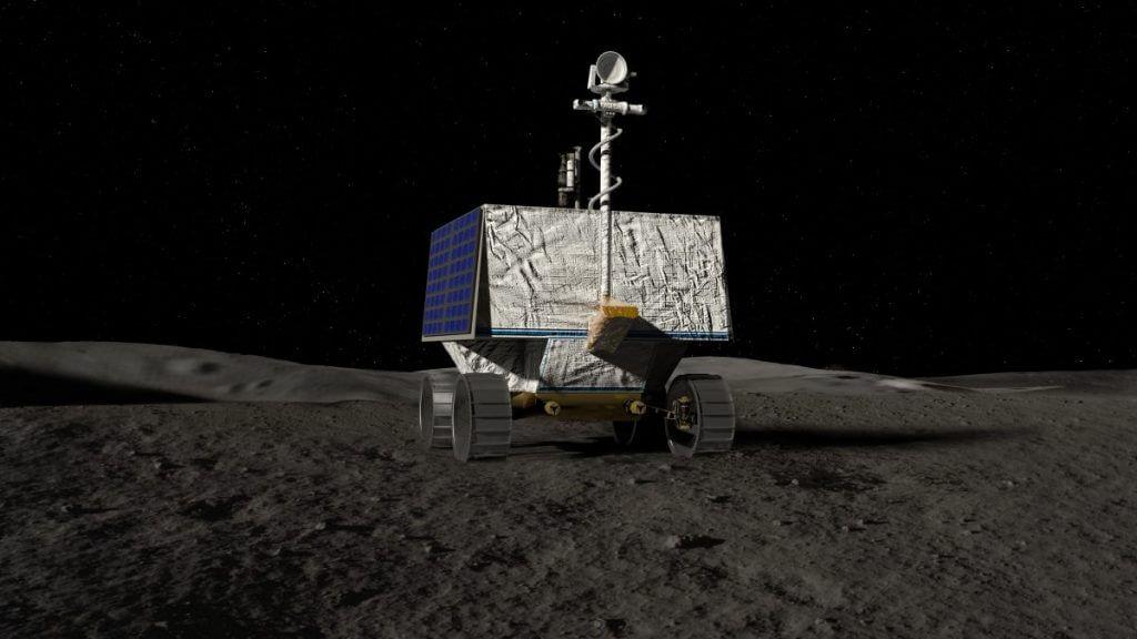 NASAの月面探査車「バイパー」のイラスト。アルテミス計画の一環として月の南極にあるノビレ・クレーターの西の端の近辺において、水の氷やその他の資源を探します(Credit: NASA/Ames Research Center/Daniel Rutter)