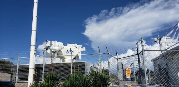 不具合を起こした可搬型ドップラーレーダの外観。撮影地は種子島宇宙センター(Credit: ロケットの色々な過程見てみたい/東京とびもの学会)