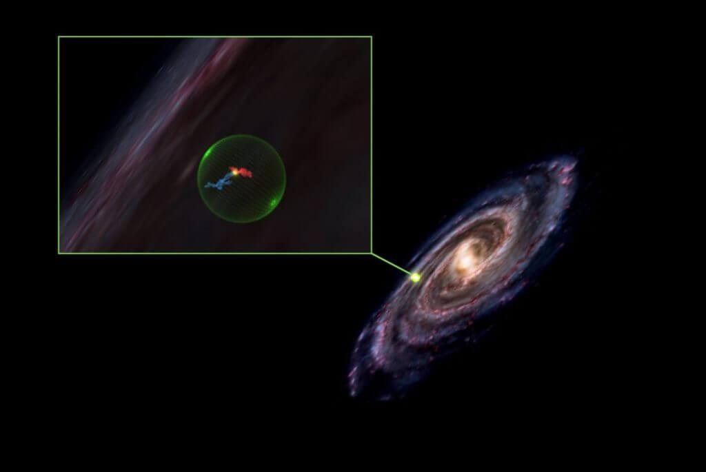 天の川銀河内でみつかった<strong>「</strong>星を生み出す巨大な空洞<strong>」</strong>のイメージ図。赤はペルセウス座分子雲、青はおうし座分子雲を表しています(Credit: Alyssa Goodman/Center for Astrophysics | Harvard &amp; Smithsonian)