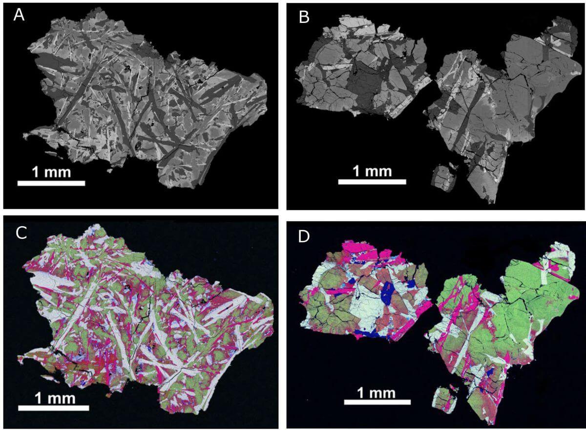 今回分析された2つの玄武岩の小片の反射電子像(上段)とエネルギー分散型X線分光法による擬色画像(下段)。スケールバーは1mmの長さを示す(Credit: Science, Che et al.)